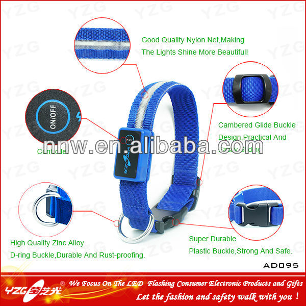 Super fashion Bright Blue LED USB dog collars made in Dongguan and CE ROHS are approval