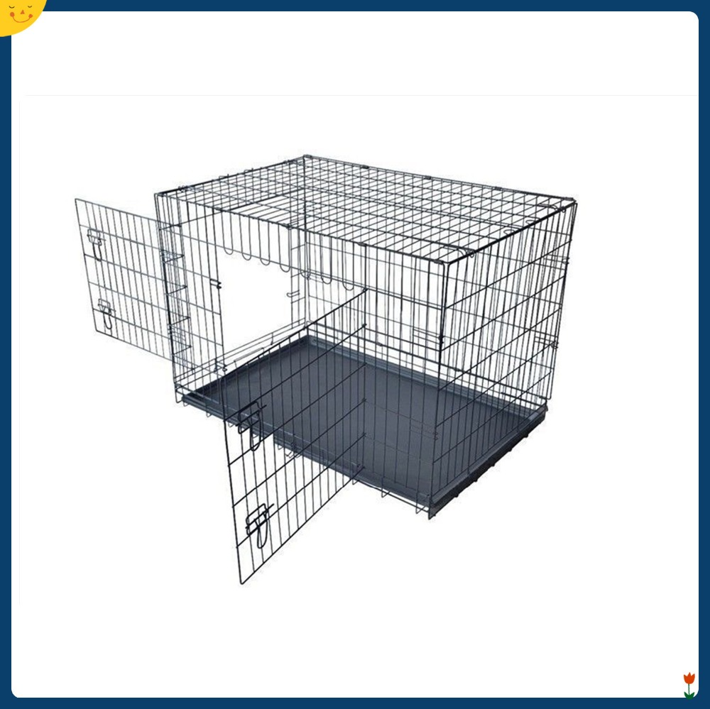 Black Wire Mesh Dog Cage 2 Door