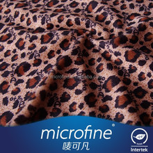 Artificial short velvet leopard - print fabric with letter