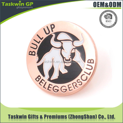 Promotional hard enamel stamped custom logo metal badge for wholesales