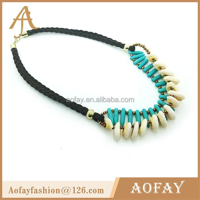 China latest design Shell and Turquoise beads chocker necklace