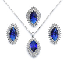 Marquise jewelry set 18k white gold plated sapphire jewelry for wedding party