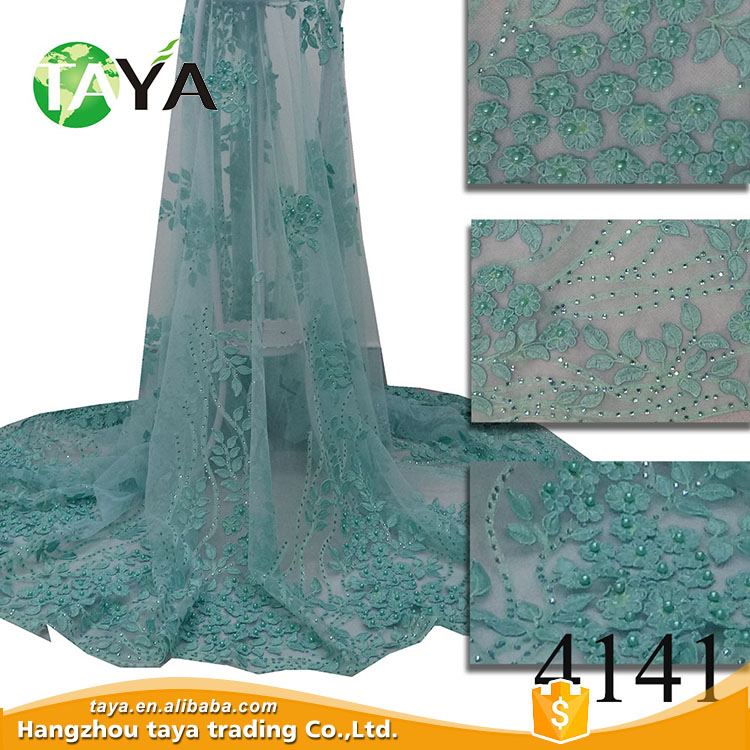 2017 African wedding 3D flower women clothing french lace fabric