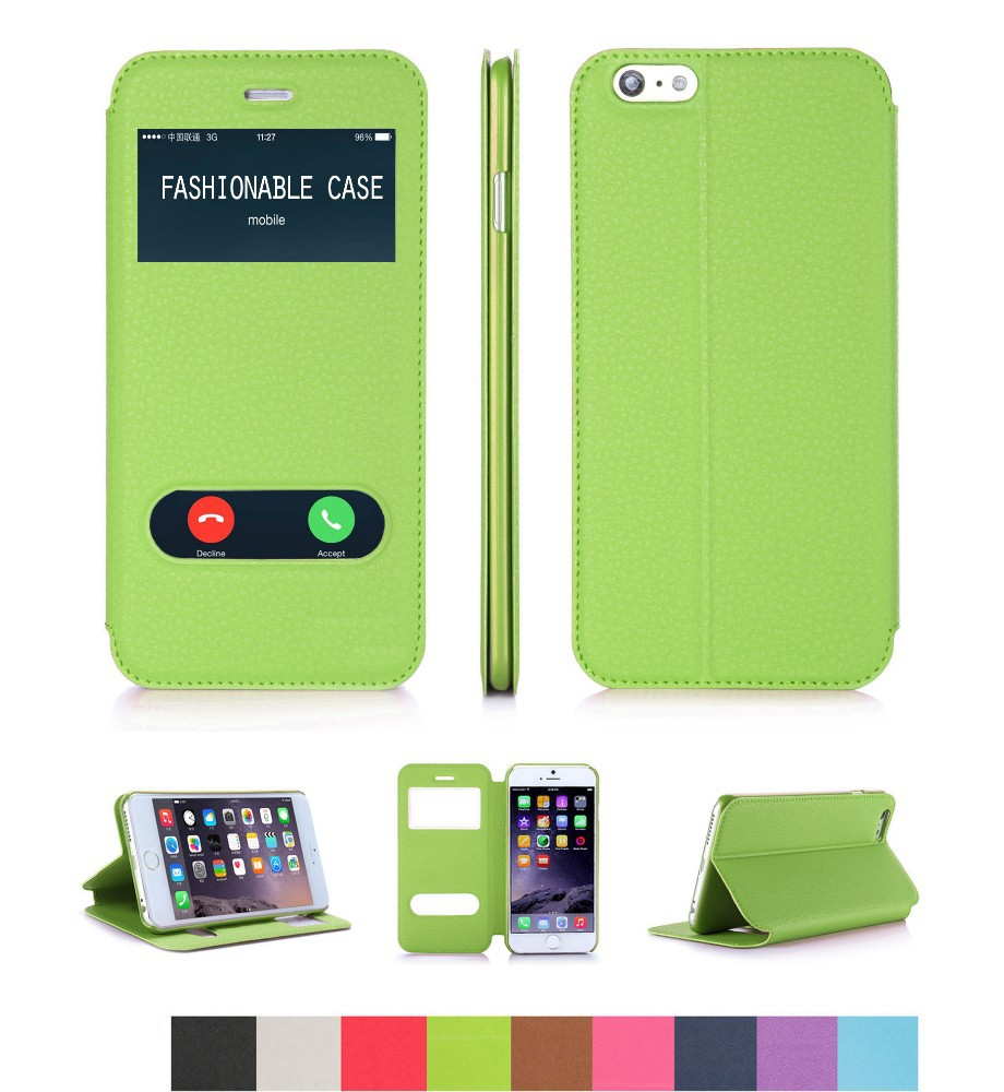 Flip Green Leather Case for iPhone 6 with Magnet Closure and View Window