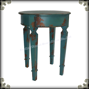 Charming Wooden Home decoration antique blue ancient end table