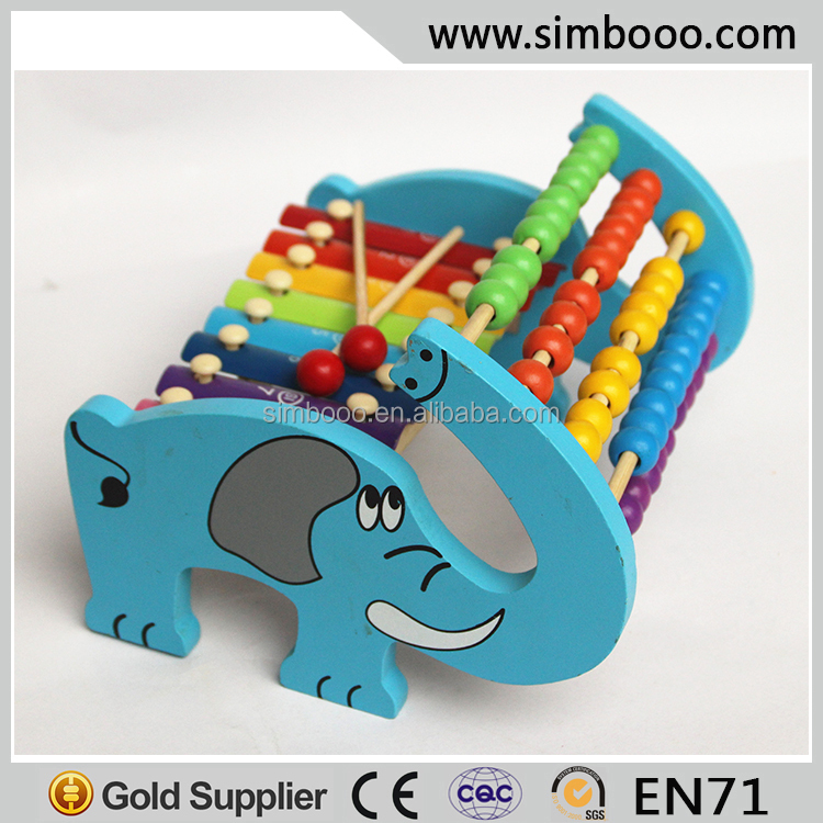 2 in 1 Cartoon Frame Abacus Learning Xylophone Wood Toy for Kids