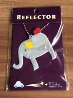 PVC Elephant shaped promotional reflective hanger with metal ring on the backpack for children