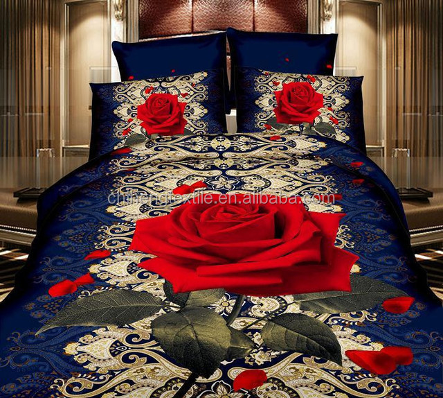 wholesale china factory bed <strong>sheets</strong> red rose 3d pictures polyester bedding set