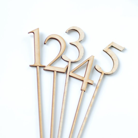 wooden wedding table numbers for restaurant