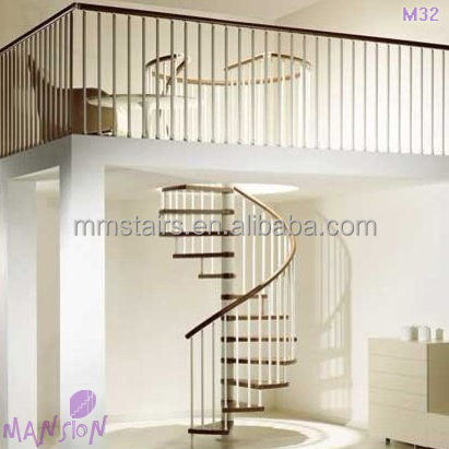 Indoor Simple Design PVC Handrail Spiral Stairs