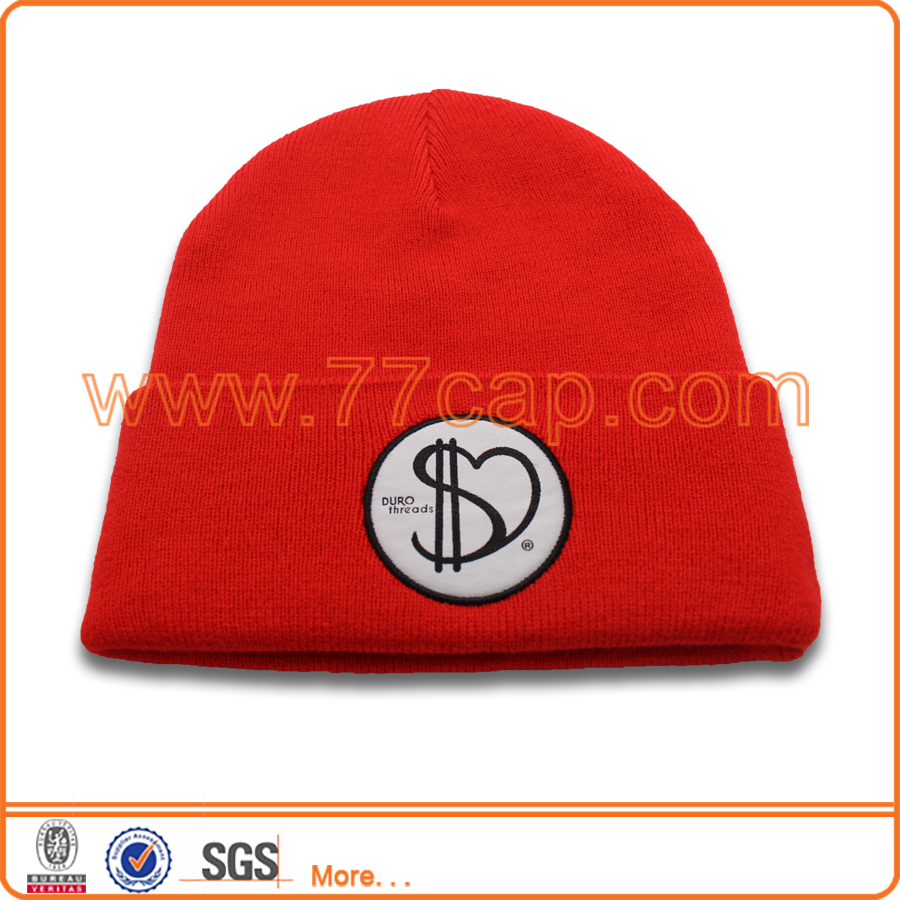 Acrylic Knit Red Hats Woven Label Beanies