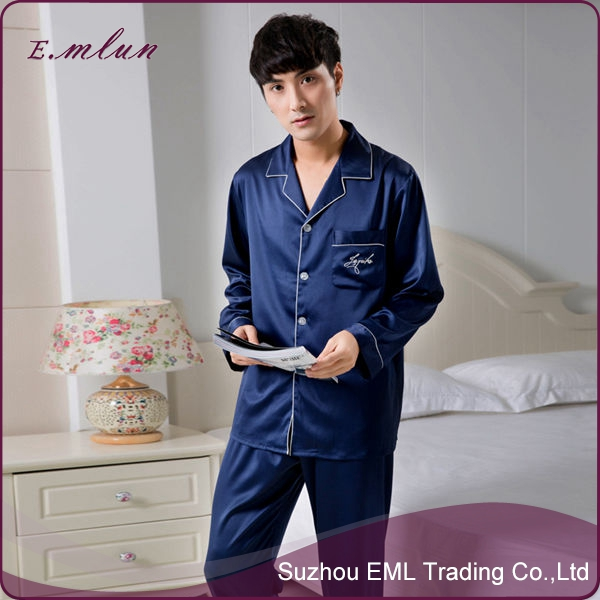 wholesale spring summer staint silk men pajamas promotion mens flannel pajama suit