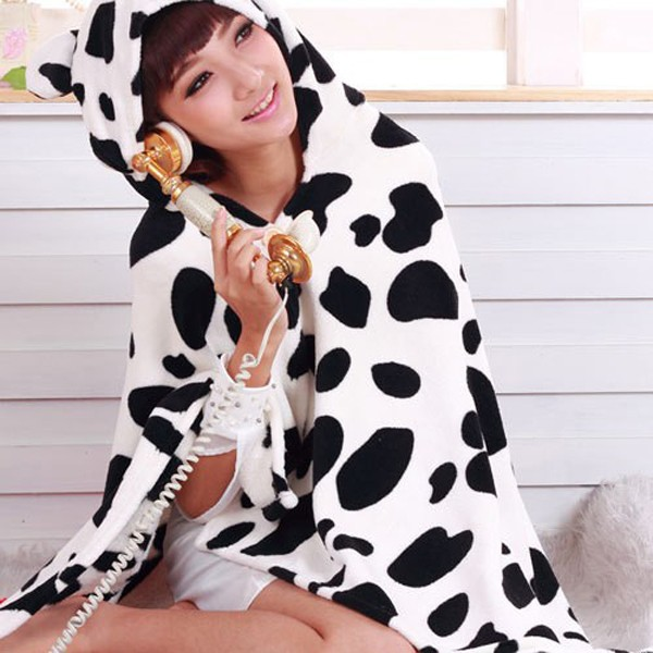 New Cow KK172 Animal Cloak - Costume Soft Hoodie Fleece Cape Wholesale