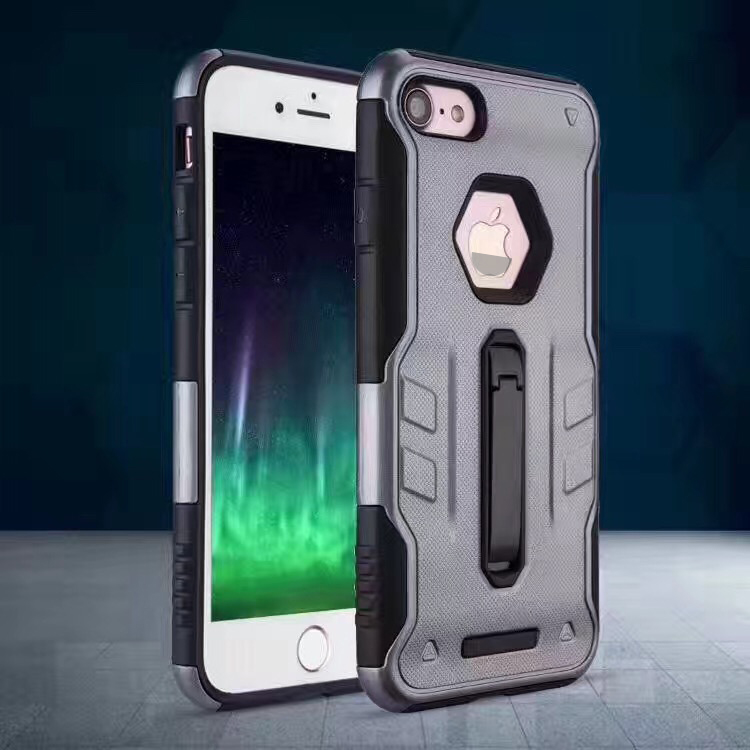 Braves i8 Armour Cover 2 in 1 with metal phone holder soft TPU hard PC Armour Cell phone Case For apply i phone 8
