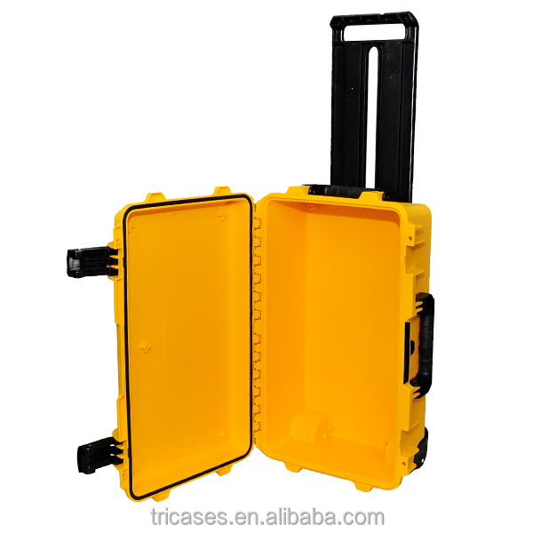 Shanghai factory injection molded IP67 orange waterproof carrying rugged hard plastic equipment case with foams and wheels