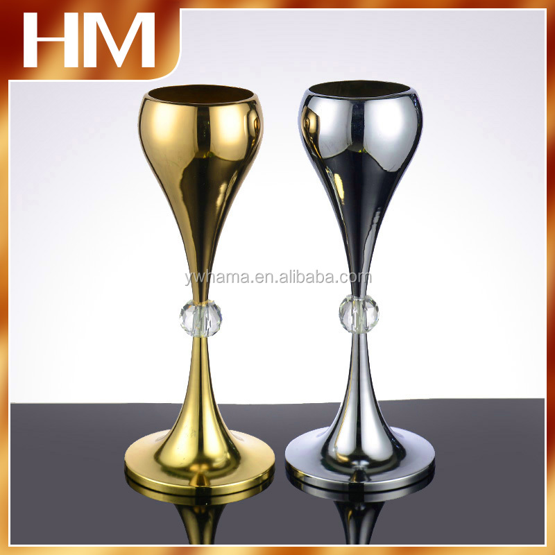 Hot Metal Crystal wedding centerpiece flower stand for table decoration with high quality
