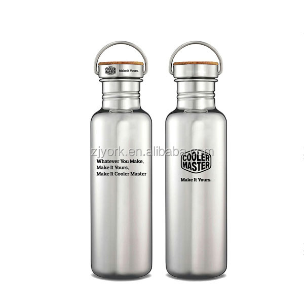 Customized bottle high quality stainless steel cold water bottle non-vacuum drinking bottle with stainless bamboo lid