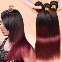 7A Ombre Indian Straight Hair Weave Bundles 1b Burgundy Indian Remy hair Red Indian Ombre Hair Extensions DHL Free Shipping