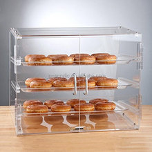 Customized Acrylic 3 Tray Refrigerated Bakery Display Case with Doors
