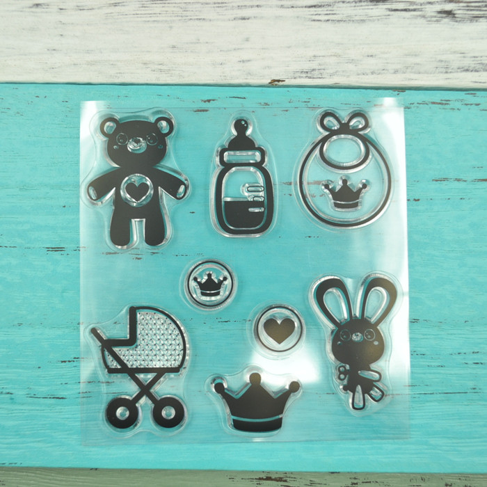Baby Theme Clear Stamps DIY Scrapbooking TPR Rubber Stamps for Kid's Toy
