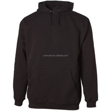 China OEM Men's blank black long sleeves fleece Pullover Hooded Sweatshirt with pocket