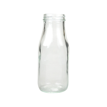 Whole sale cheap small clear round/square glass milk bottle for drinking with embossed logo and straw