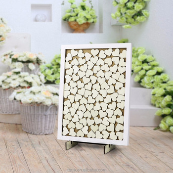 Wooden heart signature wedding guest book shade box Sign and Drop in Frame
