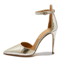 Elegant pointy toe Ankle Strap italian leather high heels pump shoes women