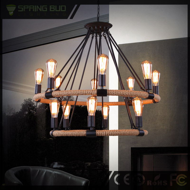 Spring Bud Lamp LOFT European antique country style black large wrought iron chandeliers CY-DD-126