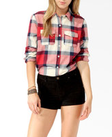 CHEFON Women Cotton Flannel Big Checked Buffalo Plaid Shirt CB0019
