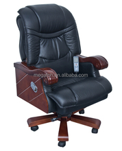 Classic luxury genunine leather office furniture wooden executive swivel inclinable chair with wheels and armrest (FOH-1319)