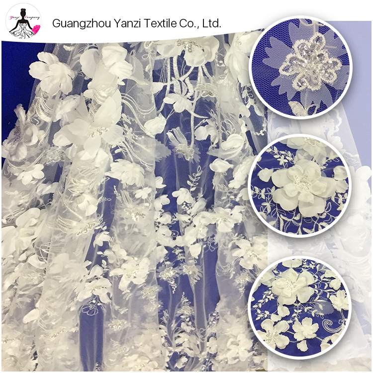 Wholesale color customized new design ladies fashion dress sequin tulle 3d wedding flower lace fabric