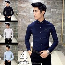 Breathable Casual Slim Fit Shirts for Men Long Sleeve Man Shirt