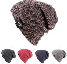Autumn and winter male ladies mixed striped knit hats outdoor thermal ski hats