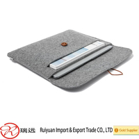 2015 alibaba hot sale !!! 13 inch light grey felt laptop sleeve with button closure