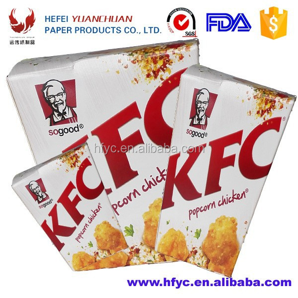 CMYK small size folded paper popcorn box Customized food grade paper chicken popcorn boxes belong to paper take away boxes