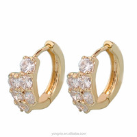 Quality copper alloy zircon diamond bulk wholesale gold hoop earrings