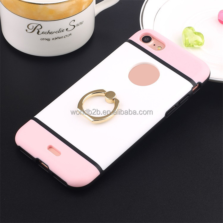 Dual injection 3 colors ring holder design rotate stand phone cases for iphone 7 7 plus