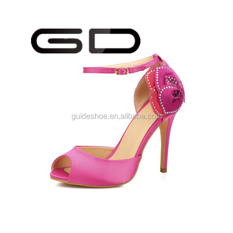 fashion design pink flower women high heel shoes lady sexy summer sandals