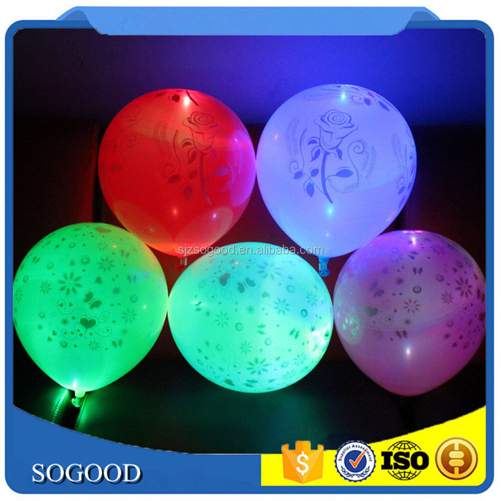 2017 Hot Sale LED Lighting Balloons Colored Flashing 12 Inch Latex LED Balloon For Evening Party