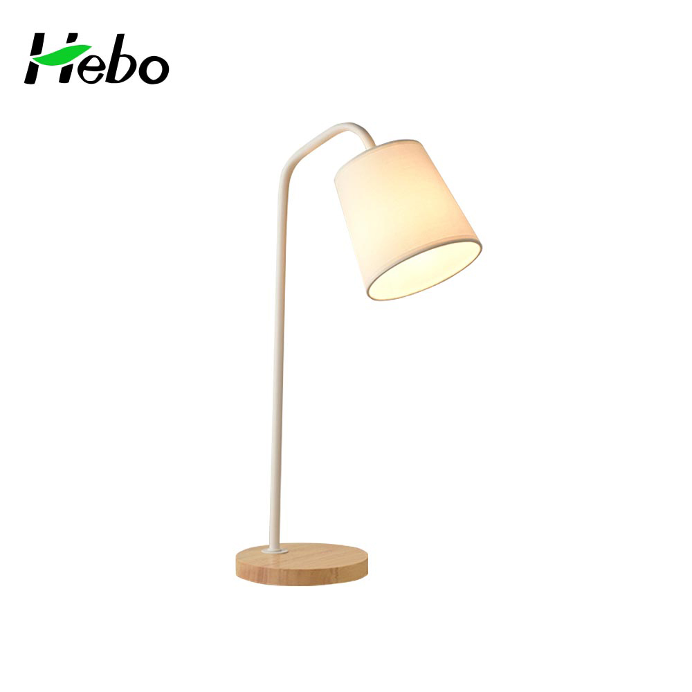 Modern study bedroom/dining room white wooden table lamp with wooden lamp base
