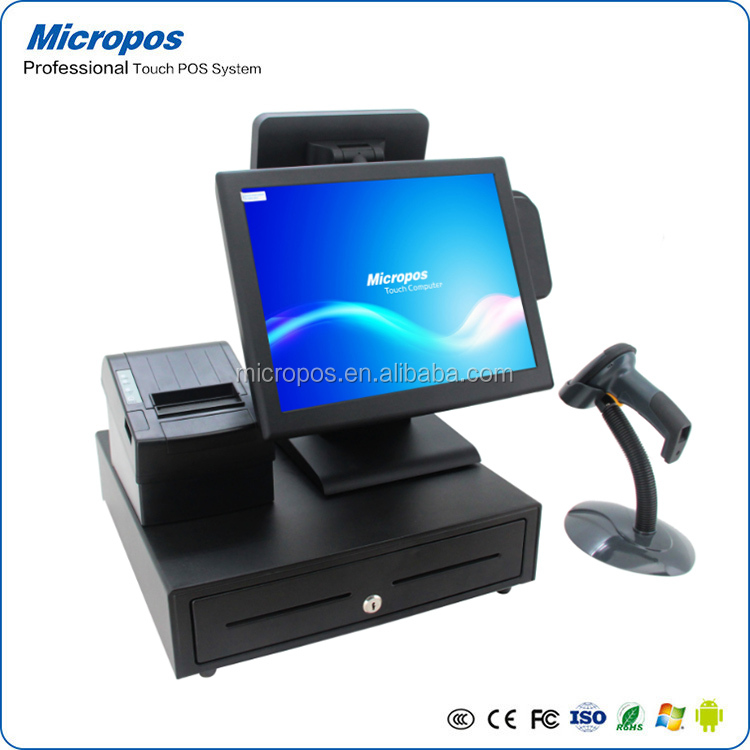 15 inch pos system with capacitive touch screen and fanless cpu for supermaket