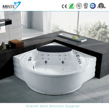 2 person whirlpool & air jetted massage bathtub, Corner Massage Bath with FM radio controller