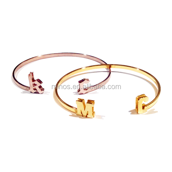 wholesale custom high quality jewelry Initial Cuff Bangle women new fashion bracelet