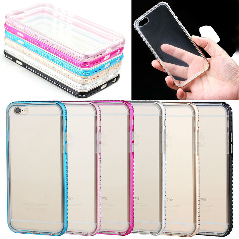 Diamond metal bumper case for iPhone 5 5S, transparent phone cover case for iphone 5 5s