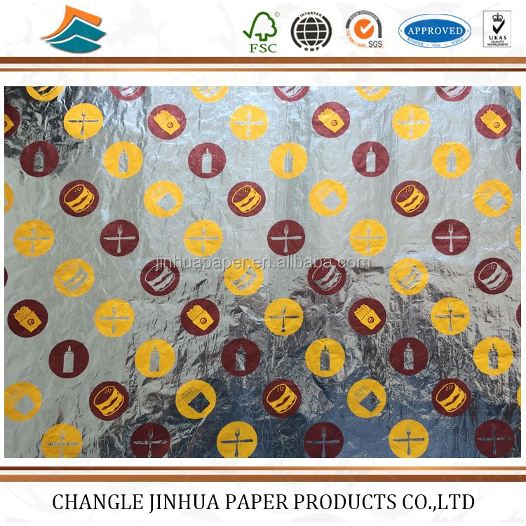 High quality foil paper burger wrapping paper for sale/absorbent paper of coaster
