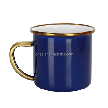 dark blue color cast iron metal custom 8cm printing steel enamel camp mug