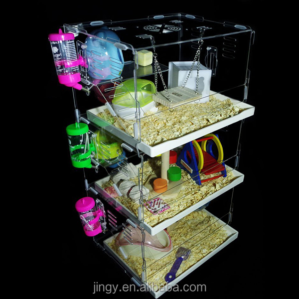 3 tiers clear acrylic luxury natural hamster cage prices
