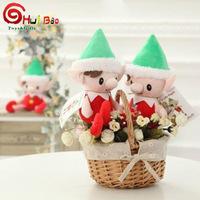 christmas Felt material santas elf doll with story book boy and girl plastic head