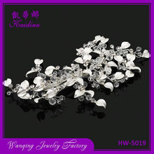 Top grain decorative crystal branches silver leaf bridal hair pins